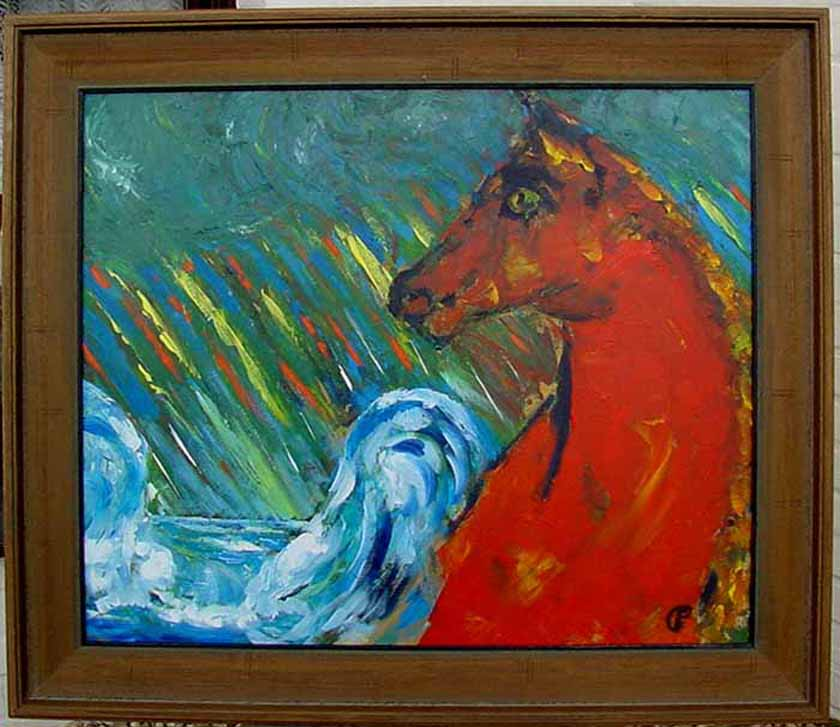 moderne kunst expressionismus ernst fermen 1947 verzeichn rotes pferd ebay. Black Bedroom Furniture Sets. Home Design Ideas